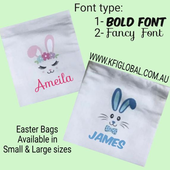 Personalised Easter Bunny Face Bag with Drawstring - Pink or Blue