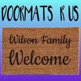 Personalised family welcome Doormat - Doormats R Us