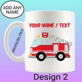 Personalised Fire Truck Mug Design 1 & 2 ( firefighter )