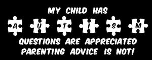 My Child has Autism Sticker - Autism Awareness