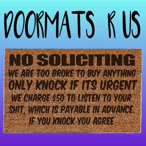 No soliciting Doormat - Doormats R Us