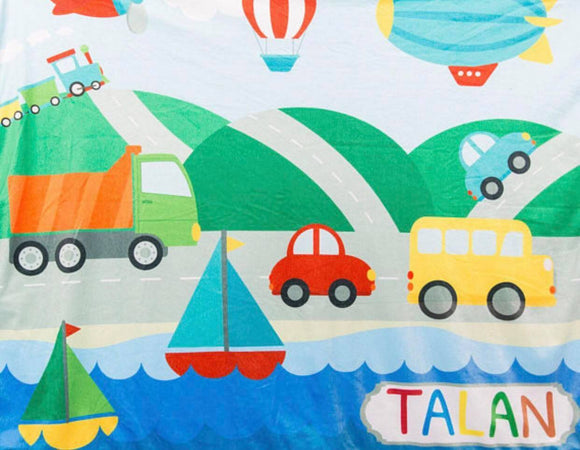 Personalised blanket - transport theme