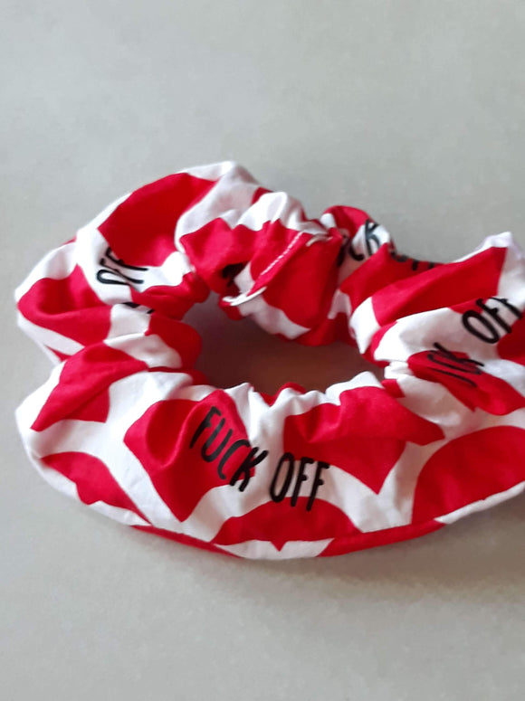 Red and white Fuck Off Wristie - Cutie Scrunchie