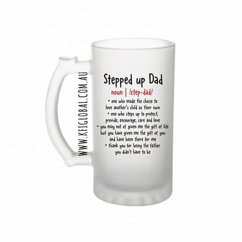 Stepped up dad Frosted Glass Beer Stein 16oz