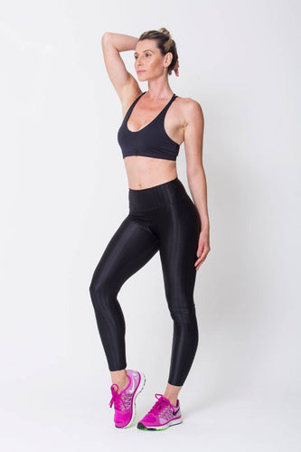 Black 3D Shine & Texture Leggings