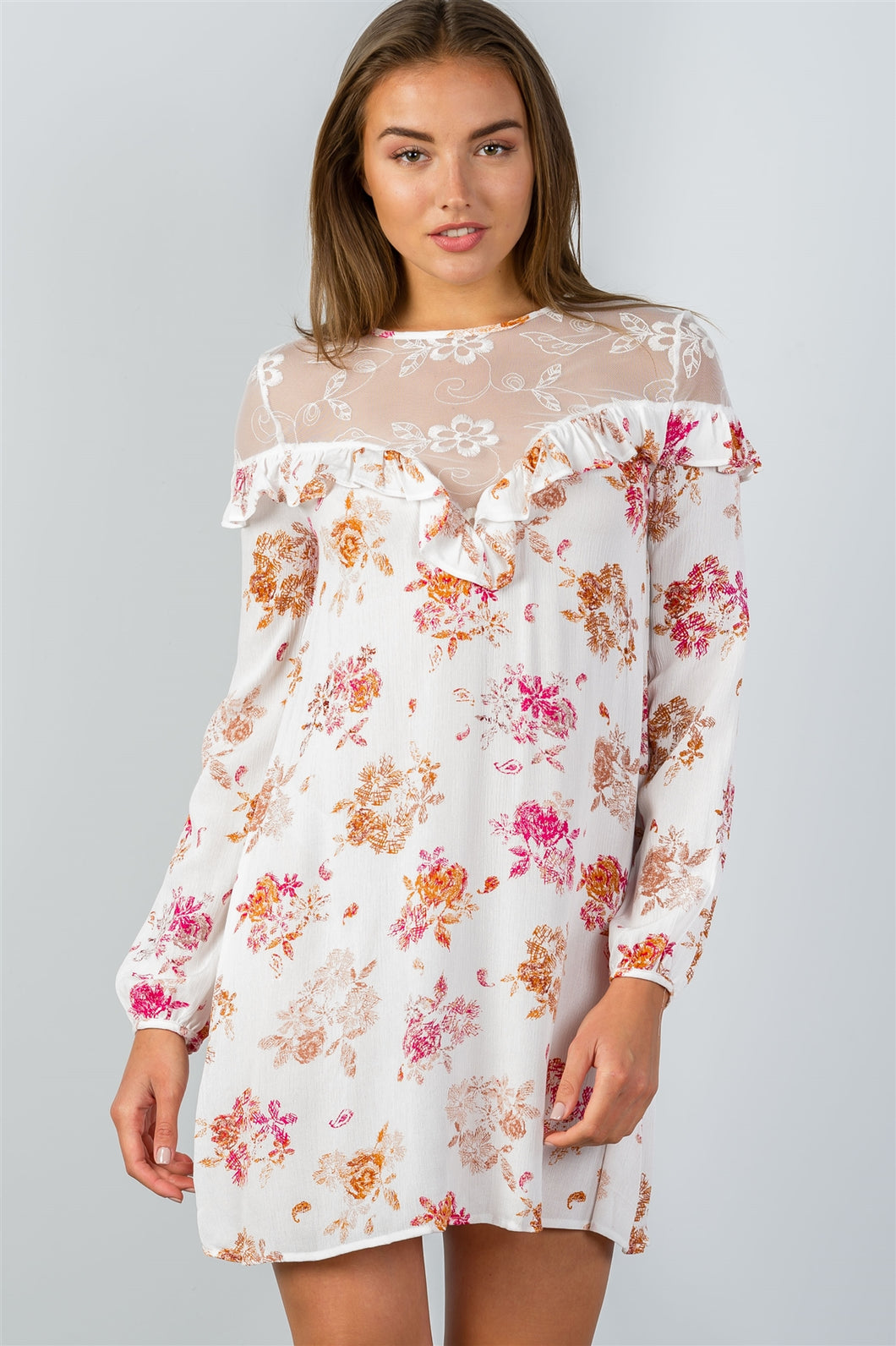 Floral Boho Long Sleeve Lace Detail Shift Dress