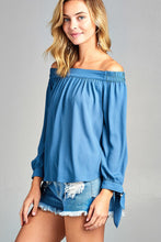 Off Shoulder Woven Top - Dusty Blue