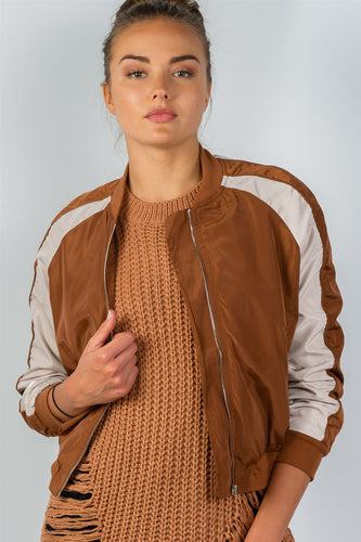 Ladies Fashion Color Block Stand Collar Zipper Bomber Jacket - Camel
