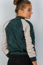 Ladies Fashion Color Block Stand Collar Zipper Bomber Jacket - Hunter Green