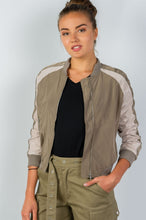 Ladies Fashion Color Block Stand Collar Zipper Bomber Jacket - Khaki