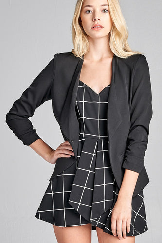 3/4 Shirring Sleeve Open Front Woven Blazer - Black