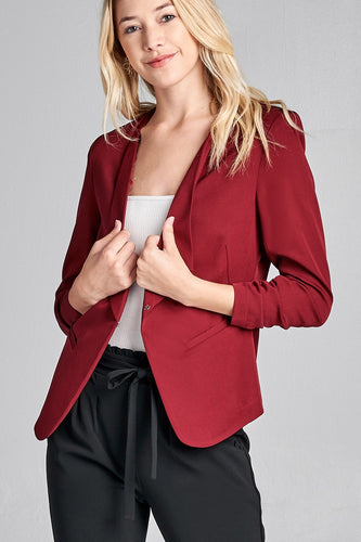 3/4 Shirring Sleeve Open Front Woven Blazer - Burgundy