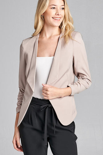 3/4 Shirring Sleeve Open Front Woven Blazer - Khaki