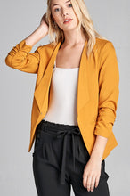 3/4 Shirring Sleeve Open Front Woven Blazer - Mustard