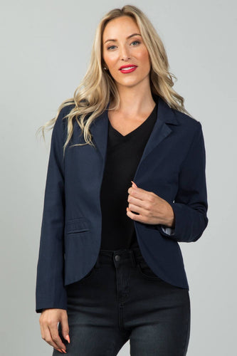 Open Front Pocket Blazer - Navy