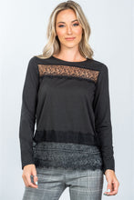 Boho Lace-Panel Hem Top - Black