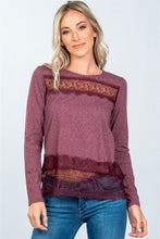 Boho Lace-Panel Hem Top - Burgundy