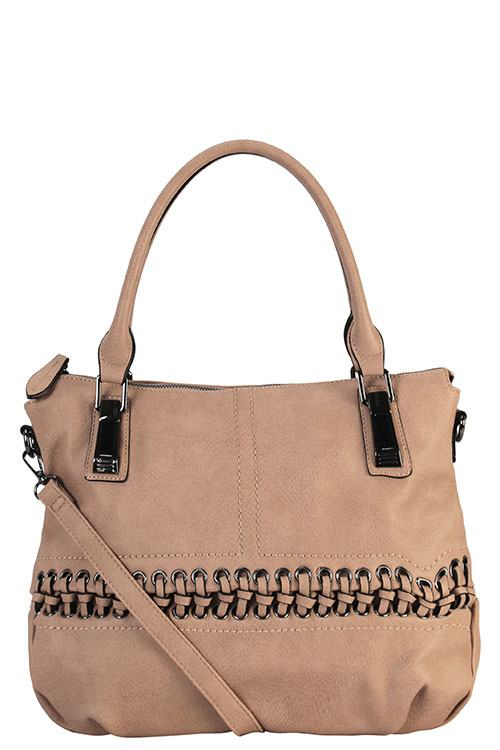 Designer Braided Accent Tote Bag - 4 Color Options