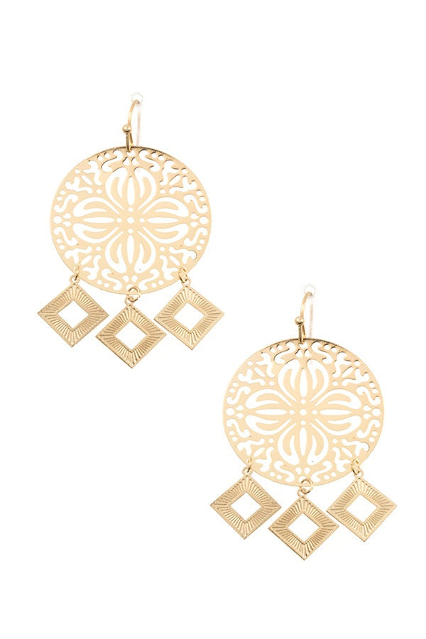 Round cut out dangle square earring