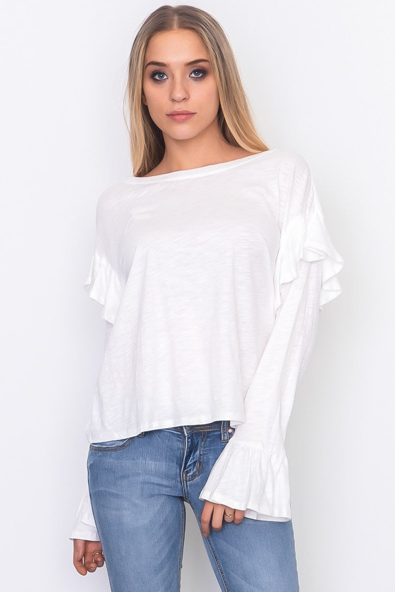 Gorgeous Ruffle Sleeve Jersey Top