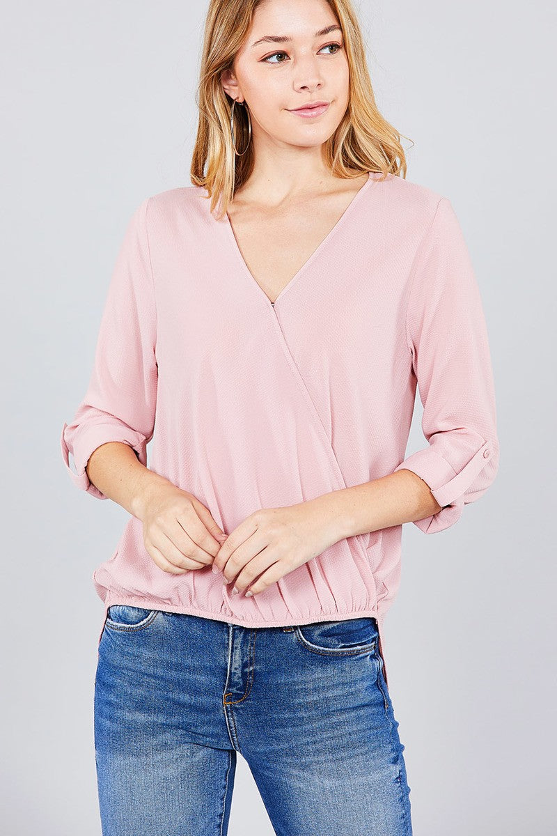 3/4 Roll Up Sleeve V-Neck Woven Top
