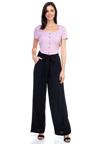 Belted Wide Leg Pants - Black