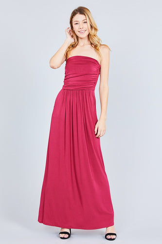 Bandeau Top Maxi Dress - Red