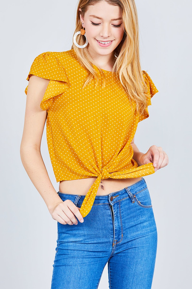 Ruffle Sleeve Round Neck Front Tie Dot Print Woven Top - Mustard