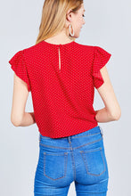 Ruffle Sleeve Round Neck Front Tie Dot Print Woven Top - Red/White