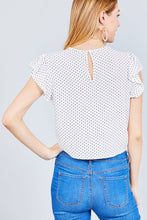 Ruffle Sleeve Round Neck Front Tie Dot Print Woven Top -White
