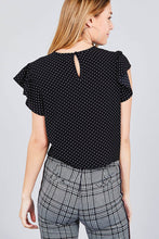 Ruffle Sleeve Round Neck Front Tie Dot Print Woven Top - Black