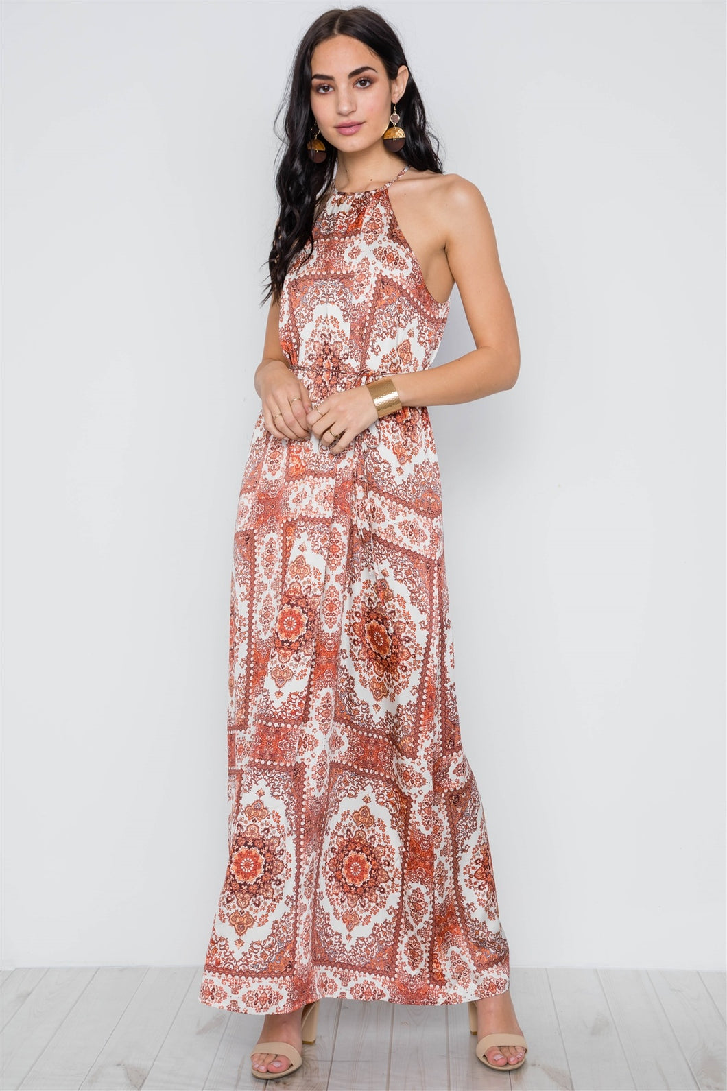 Cream Multi Paisley Print  Maxi Dress
