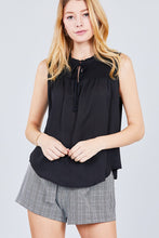Sleeveless Ruffle Neck Smocked Yoke Woven Top