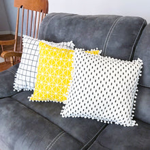 Pom Pom Pillow Case ~ Geometric Yellow