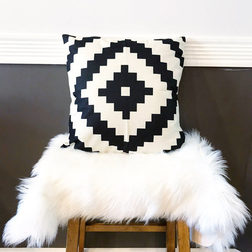 Boho Tribal Pillow Cover ~ White/Black Diamond