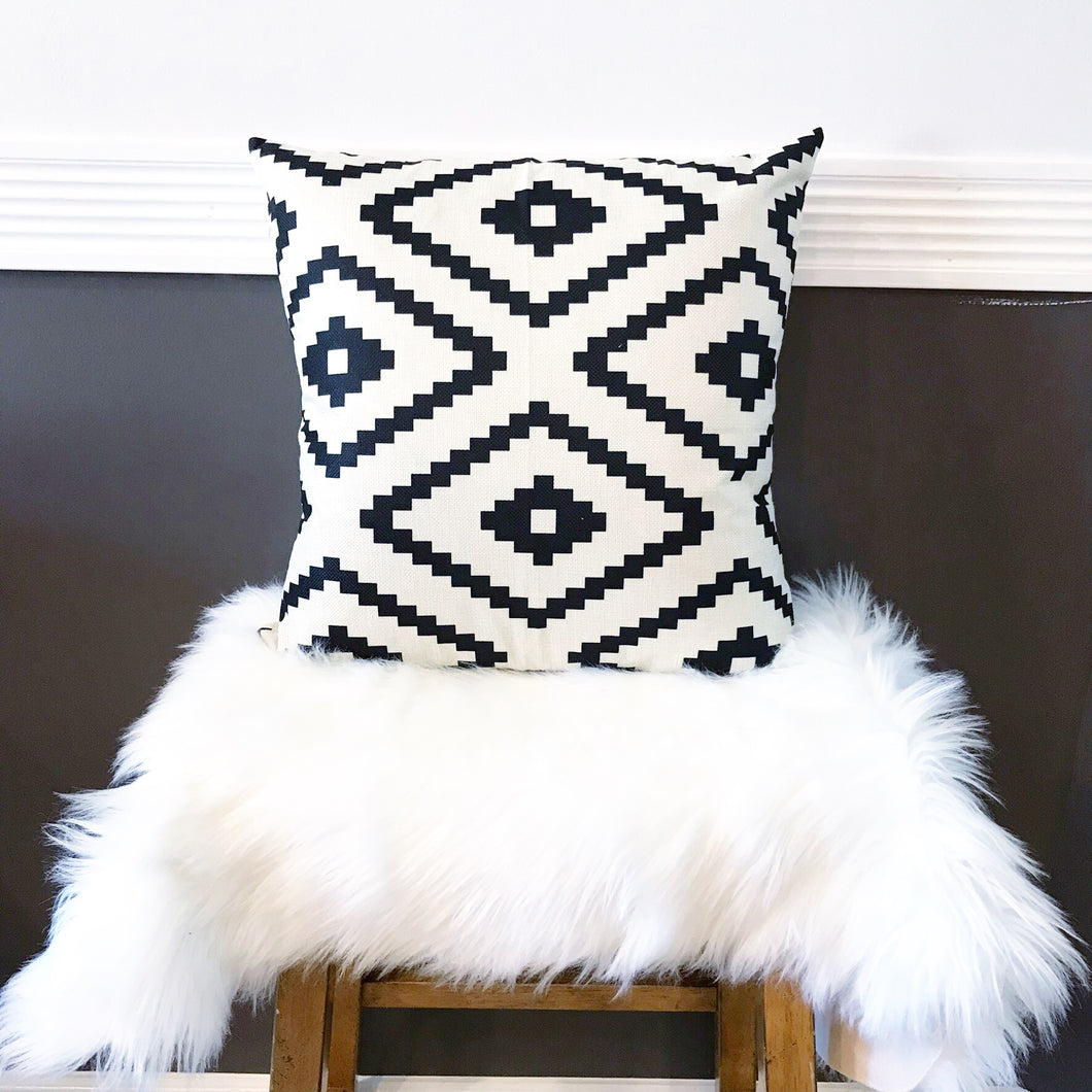 Boho Tribal Pillow Cover ~ White/Black Diamonds