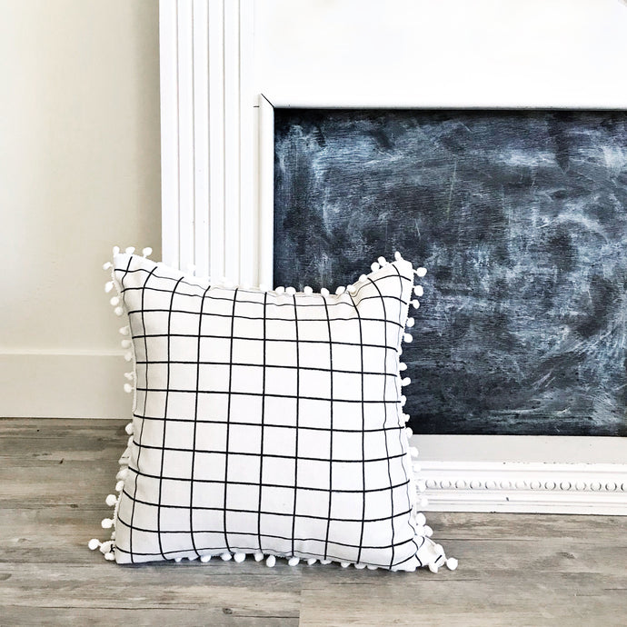 Pom Pom Pillow Case ~ White/Black Check