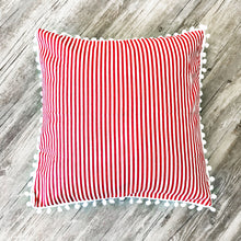 Pom Pom Pillow Case ~ Red Stripe
