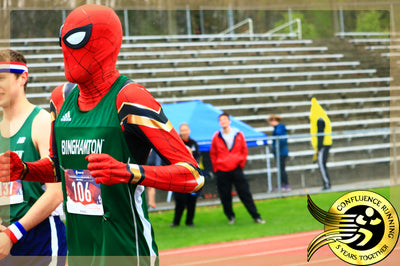 Spiderman wins 800m Dash at Binghamton University Track Meet