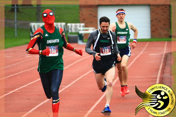 Spiderman wins 800m Dash @ Binghamton University Running Club Track Meet