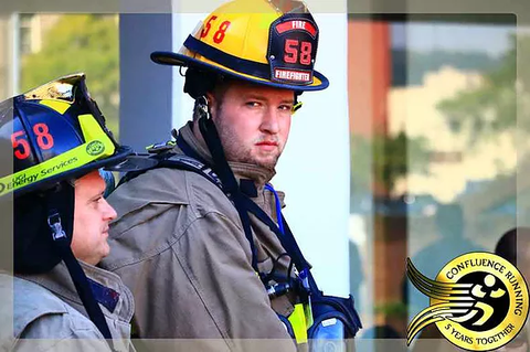 Firefighter participant in the Binghamton Memorial Stairclimb for Nine Eleven