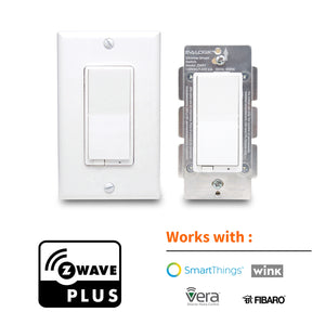 Z-Wave Plus Smart Dimmer Light Switch 3 Way | Built-in Z-Wave Repeater | Works with Existing Regular 3-Way Switch, Zwave Hub Required, Works with SmartThings, Wink, Homeseer, Alexa (ZW31)