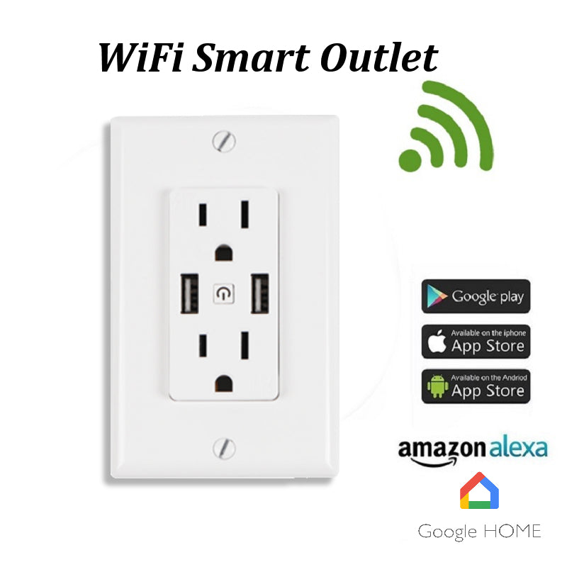 WiFi Smart Wall Outlet, dual 5V 2.4A USB Charger Duplex Receptacle Wall Socket, Tamper Resistant Outlet, Work with Amazon Alexa & Google Home APP Control, ETL Listed