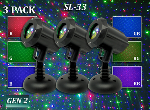 SL-33 - 3 PACK - RGB Moving Firefly Laser Christmas Light - 2nd GEN v2