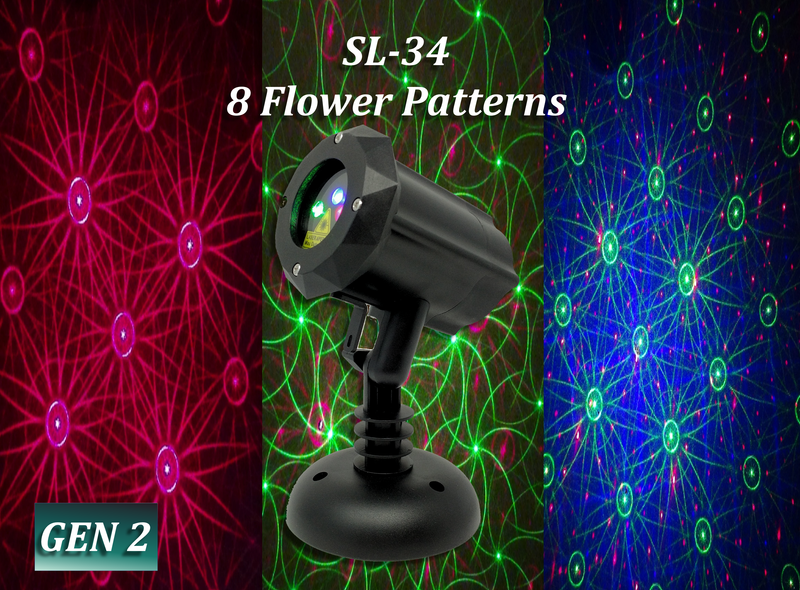 SL-34 - RGB Moving 8 Flower Garden Pattern Laser Light | 2nd GEN