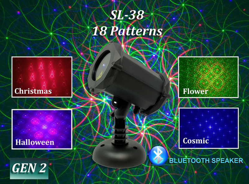 SL-38 - RGB Moving 18 Pattern Laser Christmas Light with Bluetooth Speaker - 2nd GEN v2