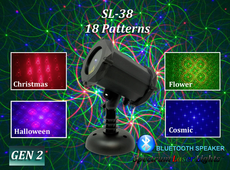 SL-38 - RGB Moving 18 Pattern Laser Christmas Light with Bluetooth Speaker - 2nd GEN - Spectrum Laser Lights