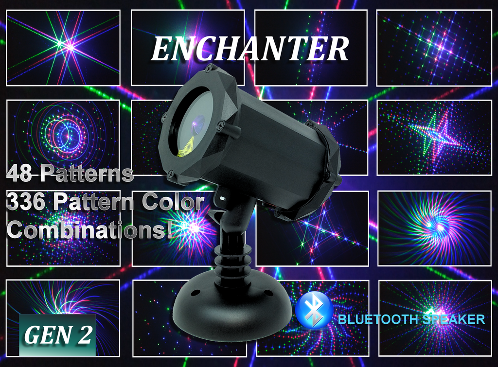 SL-41 - 3D The Enchanter 48 Pattern Laser Christmas Light with Bluetooth Speaker - 2nd GEN v2
