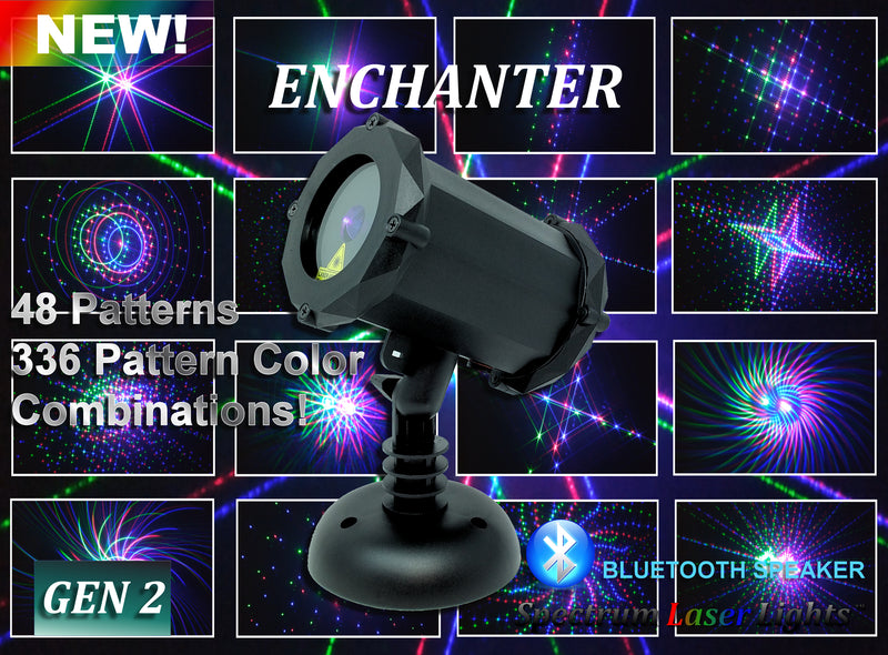 SL-41 - 3D The Enchanter 48 Pattern Laser Christmas Light with Bluetooth Speaker - 2nd GEN - Spectrum Laser Lights