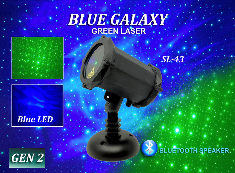 SL-43 Blue Galaxy | Green Laser Christmas Light with Bluetooth Speaker - 2nd GEN v2